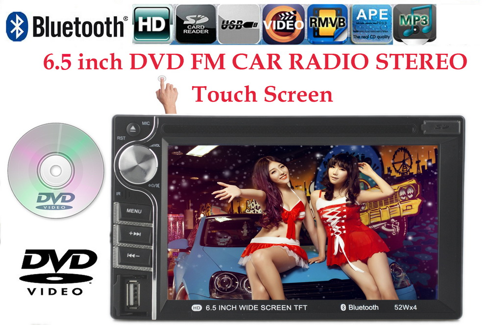 Car DVD MP4 player 2 din 6.5 inch bluetooth for reversing camera touch Screen Car Video Player 7 languages RDS/FM/AM/USB/SD(China (Mainland))