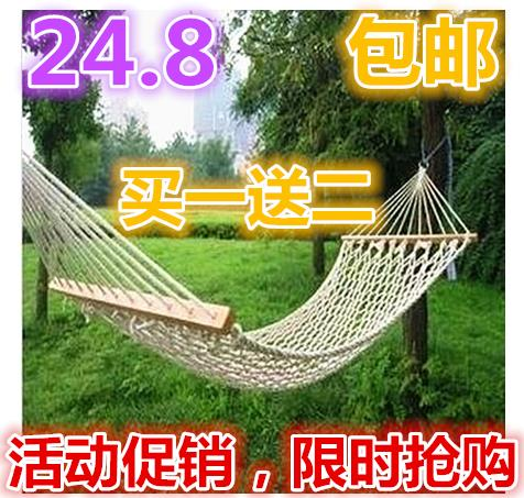 Wholesale & Outdoor hammock hammock cotton cotton mesh bold swing with stick bar with special offer shipping.(China (Mainland))