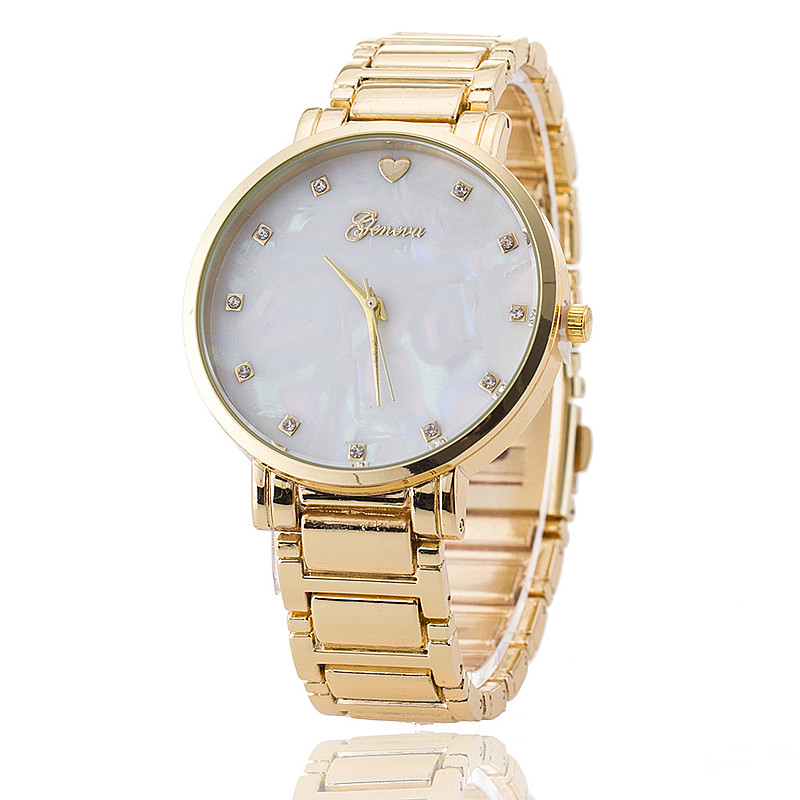 New stainless steel women wrist watch mother of pearl dial watch gold geneva watch luxury quartz for Watches geneva