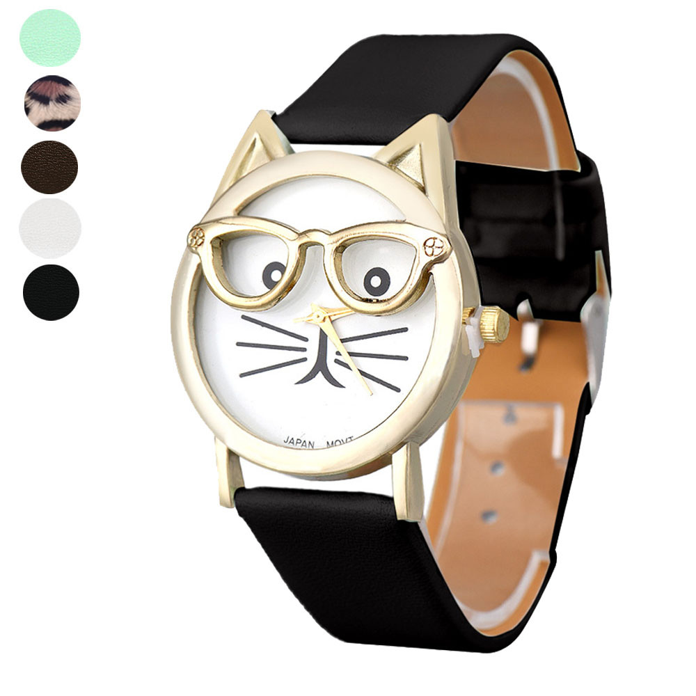 Kitty wearing glasses watches Women Analog Quartz Dial Wrist Watch PU leather band relojes metal case Cute Glasses Cat Trendy404(China (Mainland))