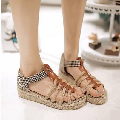 Summer New Arrival 2015 Women's Shoes Fashion Sexy Straw Sandals Open Toe Sandals Gladiator Sandals Women Platform Sandal(China (Mainland))
