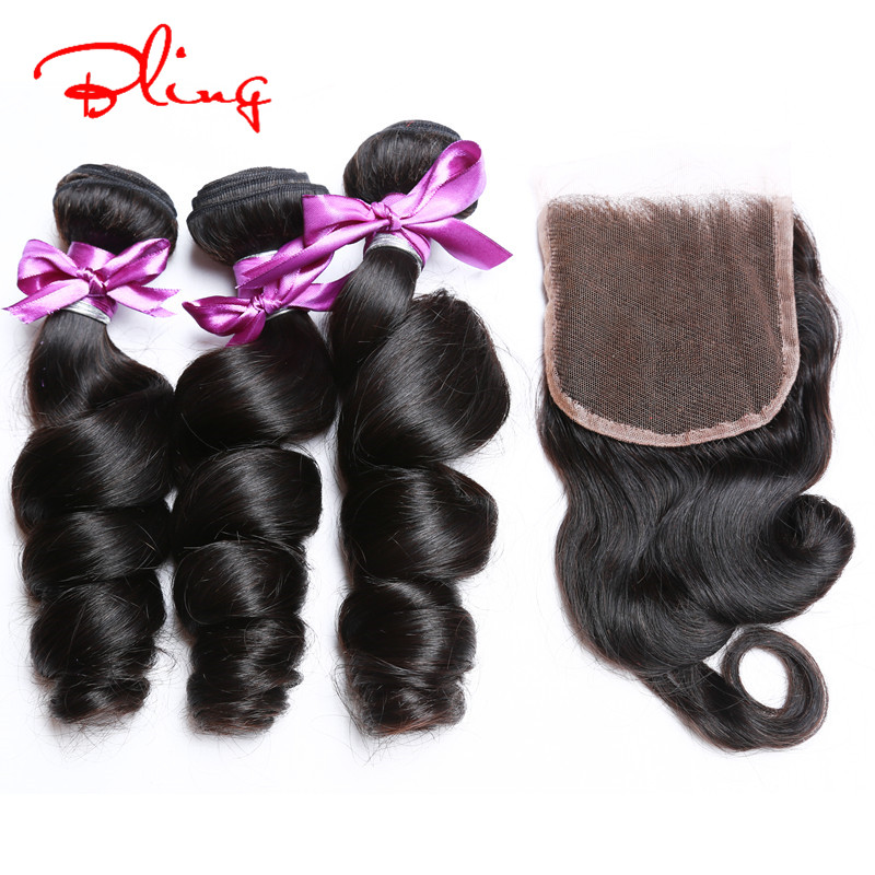 Vip Beauty Hair 7A Unprocessed Brazilian Virgin Hair Loose Wave With Closure 4 Bundles With Closure Brazilian Hair Weave Bundles<br><br>Aliexpress
