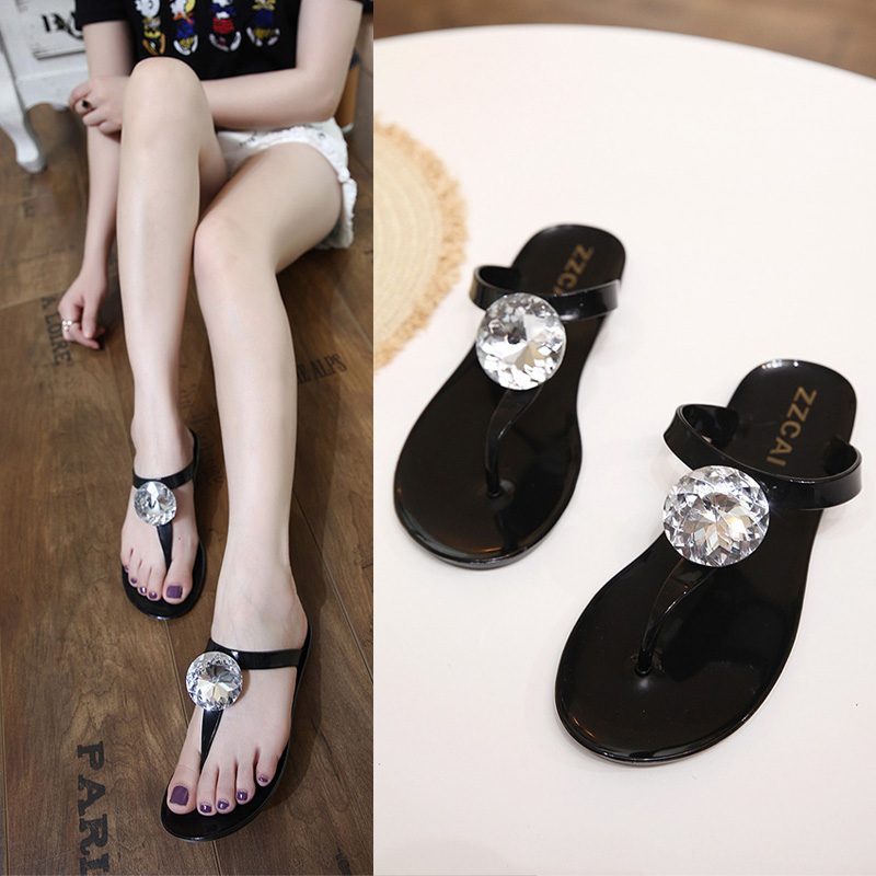 Black Gray SWeet Womens Girl Big Diamond T-Strap Thong Jelly Sandals Summer Beach Rain Flat Flip Flops Rubber Shoes Size US5-US9(China (Mainland))