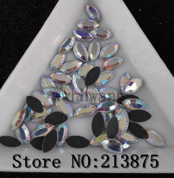 Free shipping Hotfix 100pcs 3.5mmX7mm Clear ab horse eye glass Crystal lot face Flat Back Rhinestone Garment Accessories