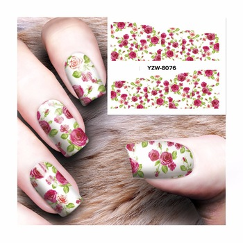 WUF 1 Sheet Nail Sticker Water Decals Nail Art Water Transfer Stickers For Nails  8076