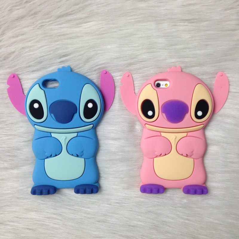 2015 Anime Cartoon Stich Silicon 3D Cute Silicone Back Cover Case Lilo Stitch Case For iPhone 4 4s 5 5s 6 6s 6 plus 6s plus(China (Mainland))