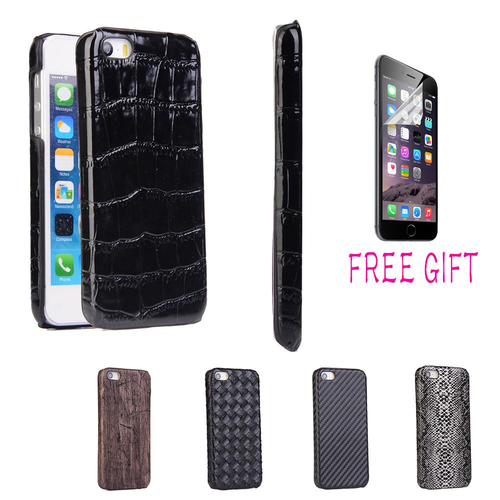 Luxury Carbon Fiber & Crocodile Pattern & Wood Pattern PU Leather Skin Hard Protective Back Hard Case Cover For iPhone 5 5S SE(China (Mainland))