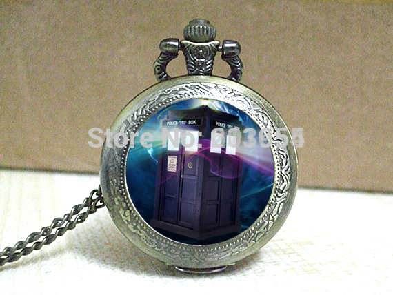 Doctor Pocket Watches 1Necklace uk movie Dr Telephone booth masters locket necklace Timelord Seal fashion jewelry