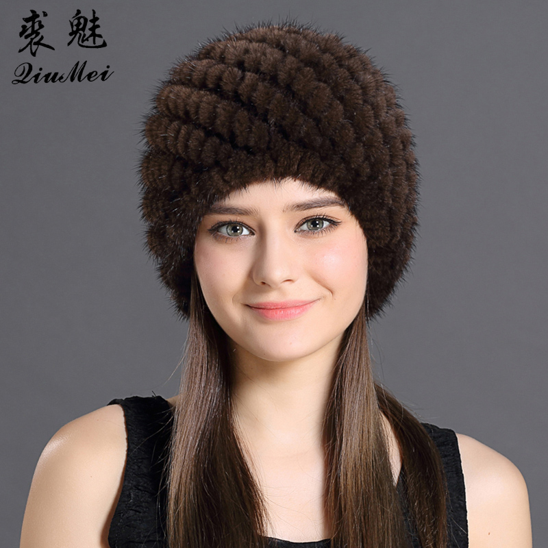 QiuMei Mink Fur Hat Women With Natural Real Fur Female Cap Women's Winter Hat Mink Fur Real Knitting Cap Pineapple Hat Hold Ear(China (Mainland))