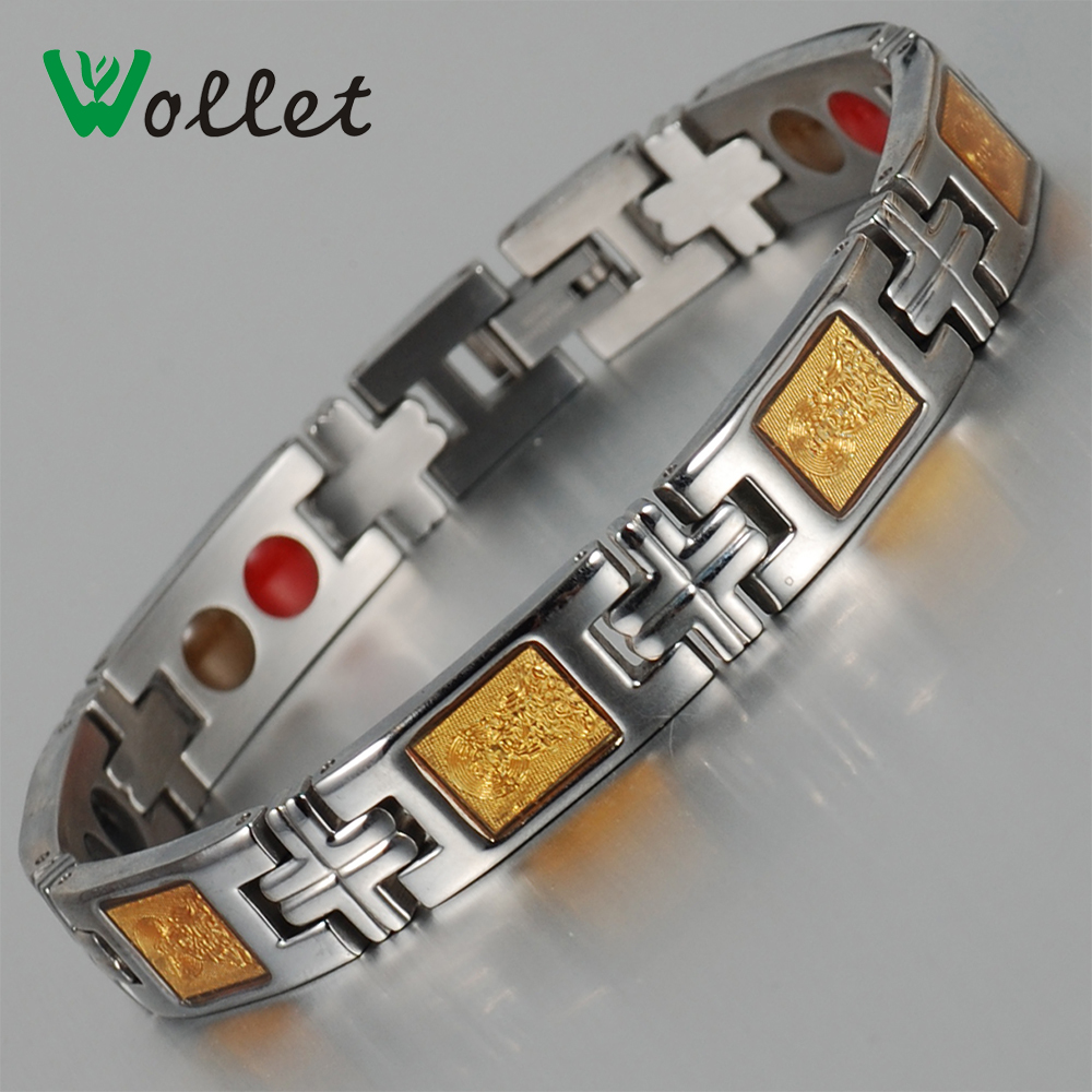 2015 man magnetic therapy gold foil stainless stee far infrared hematite magnetic germanium health bracelet(China (Mainland))