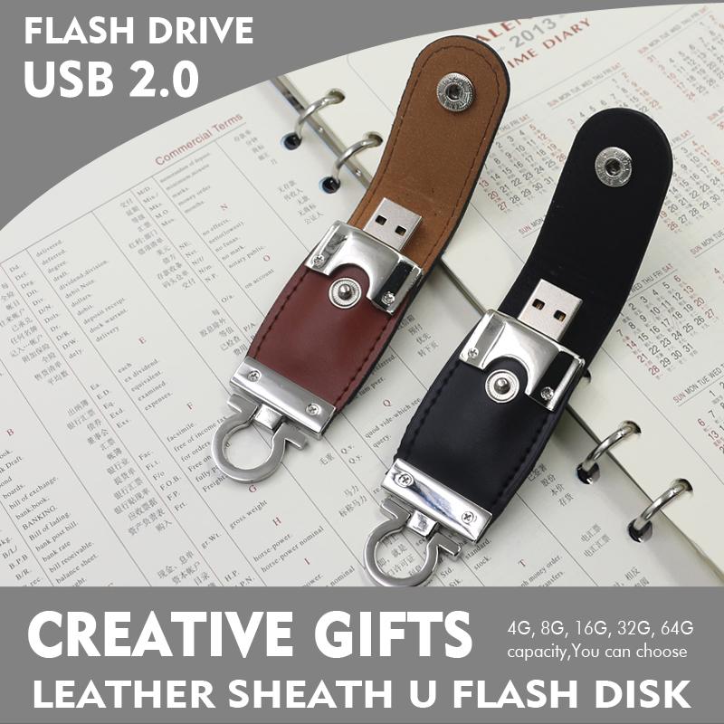 2016 High quality U Disk 64GB 32GB 8GB 4GB Leather USB Flash Drive Pendrive 64GB Memory stick Pen Drive pen drive free shipping(China (Mainland))