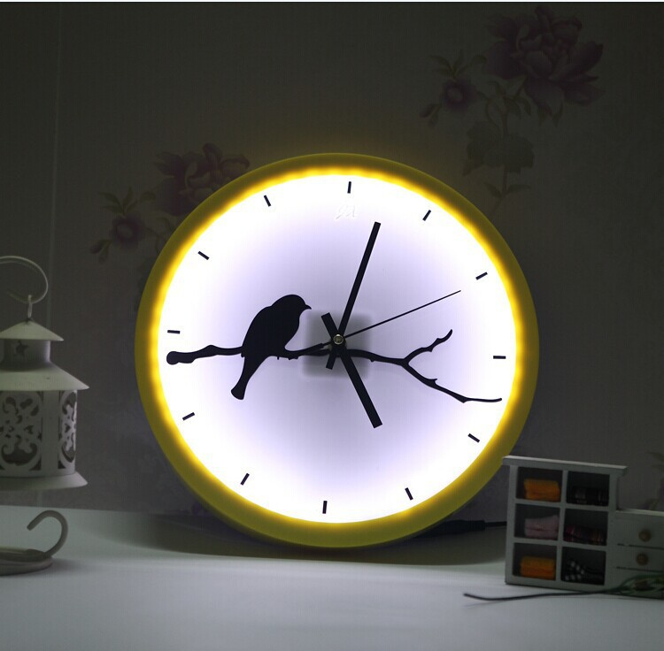Free shipping modern little bird shape led wall clock new for Modern living room clocks
