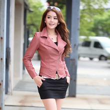 M/3Xl New Women'S Korean Short Motorcycle Jacket Multi-Color Slim Thin Long Sleeves Casual Pu Leather Coats Tops 7 Colors S2183(China (Mainland))