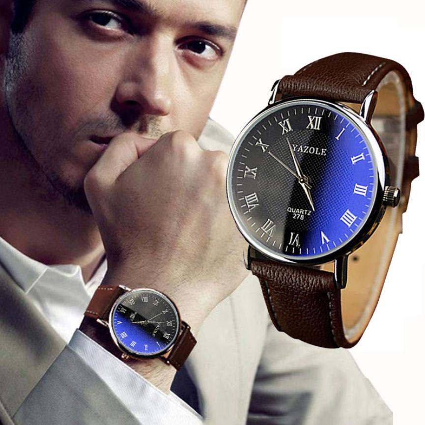 Essential Luxury Fashion Faux Leather Mens Quartz Analog Wrist watches Reloj Dress Quartz Bangle Bracelet Free Shipping Oct29<br><br>Aliexpress