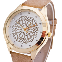 Buy BGG watch hollow flower dial ladies Casual Watch fashion Rhinestone Women Dress Watch Leather Quartz Wristwatch clock hours for $3.99 in AliExpress store