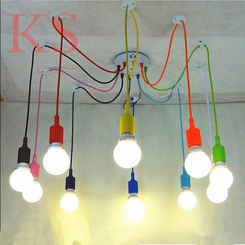 Modern chandeliers lamp color silicone E26/ E27 lampholder 6/10 pendants Restaurant bar LED light fixture~ NO BLUB(China (Mainland))