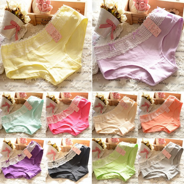 Retail Wholesale Womens Soft Cotton Briefs Solid Color Lace Underwear Panties Knicker Underpants(China (Mainland))