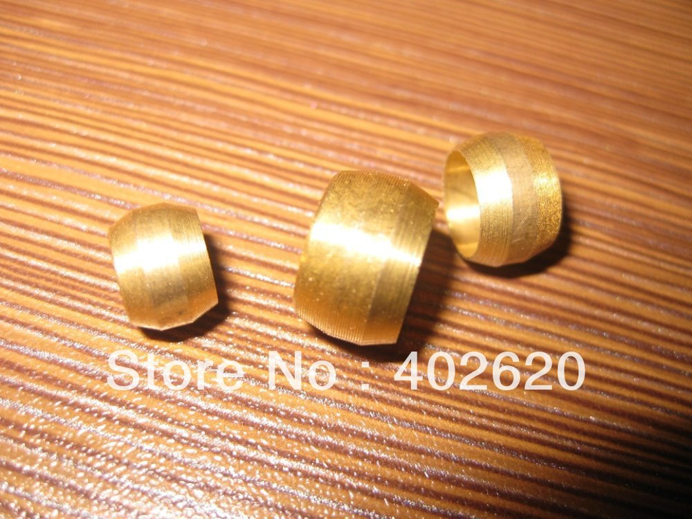 brass fitting olive, compression fitting oring, sleeve, 4mm ID brass olive for the compression fittings 100pcs/set free shipping(China (Mainland))