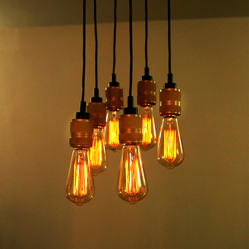 American Country Retro Edison Bulbs Pendant Lights 6 Heads Vintage Dumb Industrial Pendant Lamp Fixtures Modern Kitchen Lighting<br><br>Aliexpress