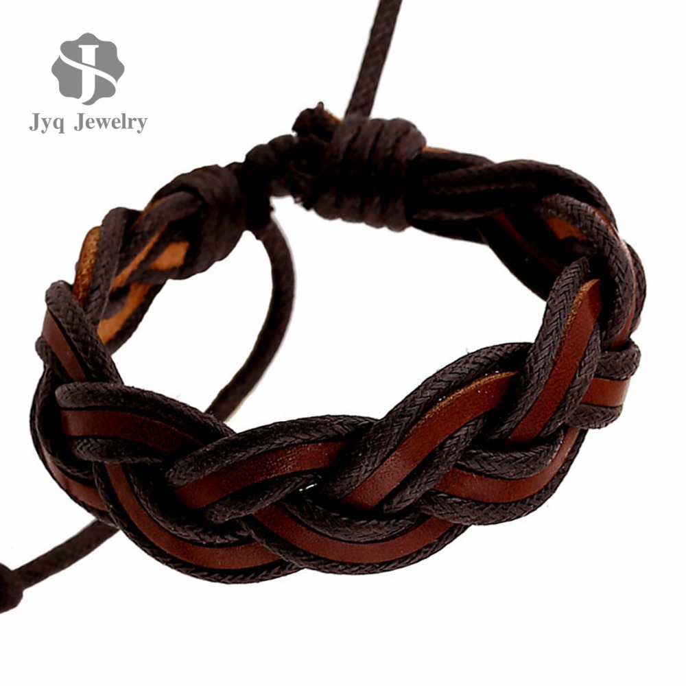 Braided Handmade Genuine Leather Bracelets Fashion Brown Bracelets & bangle for Women Men Jewelry Accessory Wholesale 2015(China (Mainland))