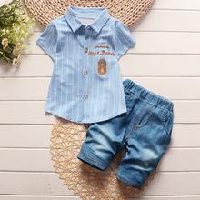 2016 fashion toddler baby girls summer clothing sets stripe letter 2pcs girls summer clothes set kids gentleman tracksuit set (China (Mainland))