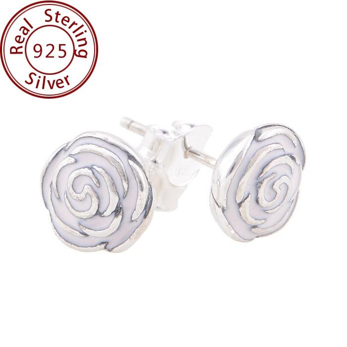 Rose Earrings Pandora Earrings Pink Enamel Rose