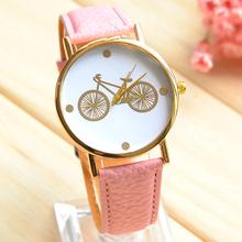 Moda envío gratis Casual mujeres relojes alta calidad de cuero del cuarzo watchesSimple patrón de la bicicleta reloj de vestir