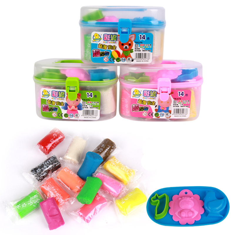 2016 new DIY safe and nontoxic Malleable Fimo Polymer Modeling Clay playdough tools Soft Blocks Plasticine play dough box set(China (Mainland))