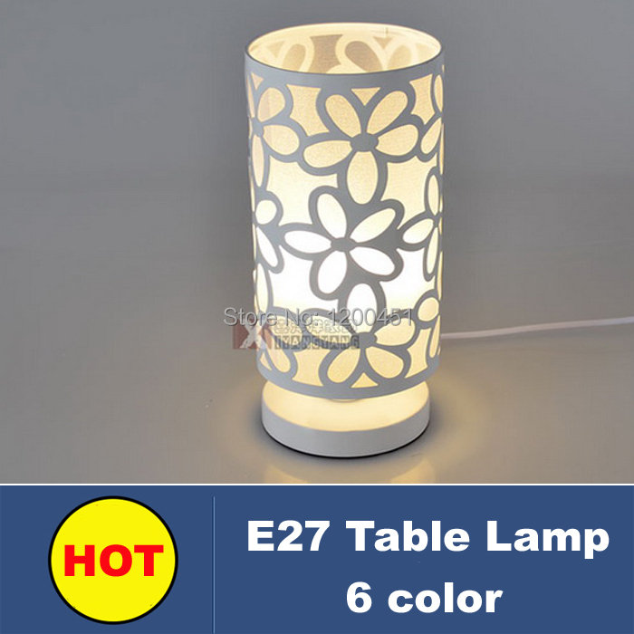 2015 New Modern LED table lamps E27 6 color desk lamp lampshade flower night light table Lamp for for living room decoration(China (Mainland))