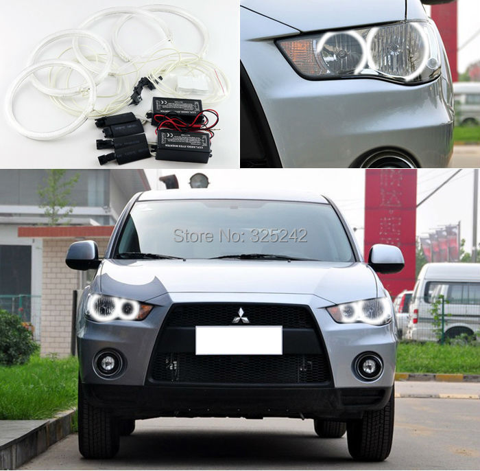 For Mitsubishi Outlander 2011 2012 non projector Excellent Ultra bright headlight illumination CCFL Angel Eyes kit Halo Ring(China (Mainland))