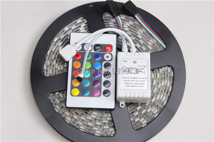 DC12V 5-meter/roll 300smd 3528 SMD Waterproof LED RGB Light Strip+remote controller(China (Mainland))