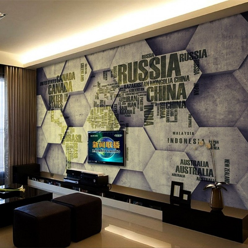 3d three dimensional personality retro brick wall murals for Living room 6 letters