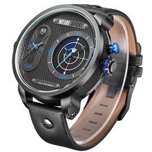 Hot Stylish Big Dial Fashion Casual Sports Waterproof Stop WEIDE Men s Quartz Watch Genuine Leather