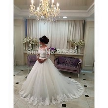 Wedding Dress 2016 Hot Sale Sweetangel Beaded A Line Long Sleeve Lace Wedding Dress Vestido De Noiva Robe De Mariage Bride Dress(China (Mainland))