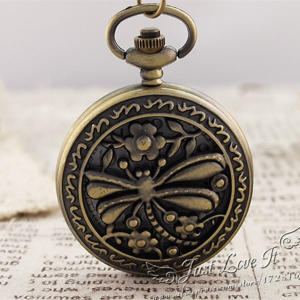Pocket watch wholesale antique fashion High Quality retro alloy dragonfly pocket watch5pce/lot<br><br>Aliexpress