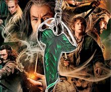 1pc jewelry cute Movie The Hobbit copy jade Emerald Dual purpose type Corsage Green leaf pendant necklace women 2016 eBay Hot