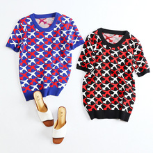 2016 Autumn Novelty Knitted O-neck Short Sleeve Airplane Plain Print Pullovers Short Sweaters Blue High Quality D669