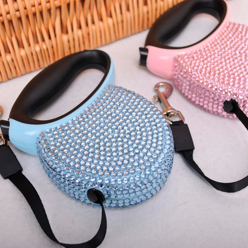 2016 spring and summer new brand fashion automatic retractable diamonds pet collars and leads pet supplies dog products(China (Mainland))