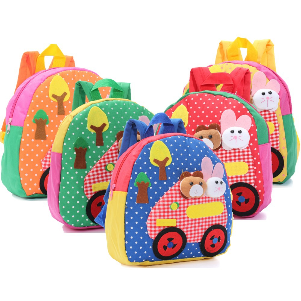 New Good Quality Canvas School Bags for Kids Small Little Baby Kindergarten Bags Animal Girl Cartoon Fabric Childrens Backpacks(China (Mainland))