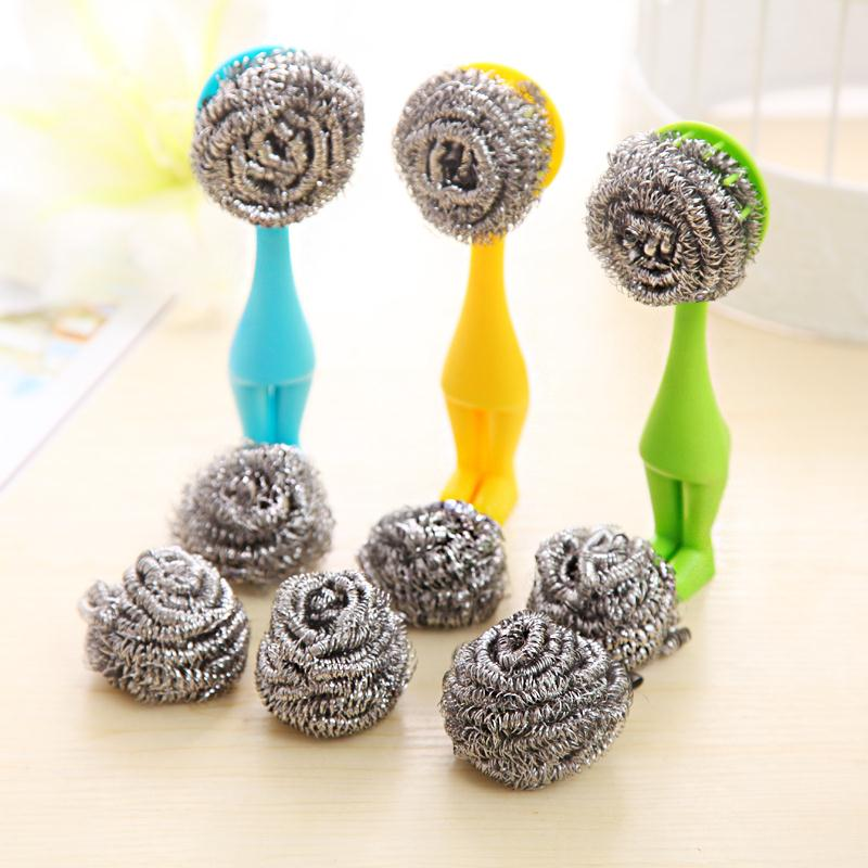 Vertical Villain Scourer Cleaning Two Stainless Steel Balls Long Handle Kitchen Brush Pot Removable Steel Wire (2434)(China (Mainland))
