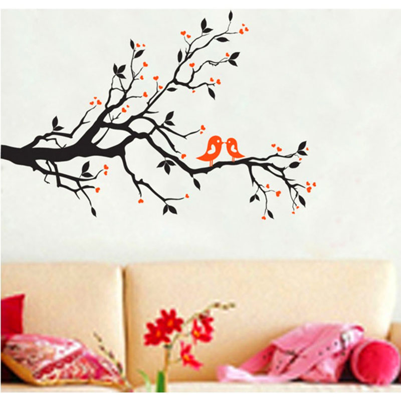 Elegant Plum Flower Joyous Bird Home Decor Wall Stickers DIY Poster Vintage Stickers On The Walls Vinyls Tree Wall Decals HH1393(China (Mainland))