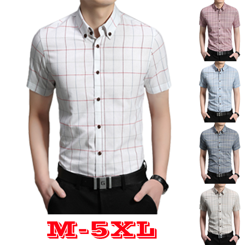 Plaid shirts for men linen casual shirt mens clothing for Mens short sleeve white dress shirt