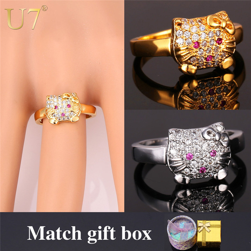 Hello Kitty Ring For Women Wholesale 2015 Platinum/18K Real Gold Plated Trendy Crystal Bridal Sets Cat Ring Party Gift Box R368(China (Mainland))