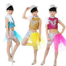 Free Shipping Kids Dance Clothing Sets Sequins Children Stage Performance Costumes Girls Jazz Dancewear Suit Top+Shorts