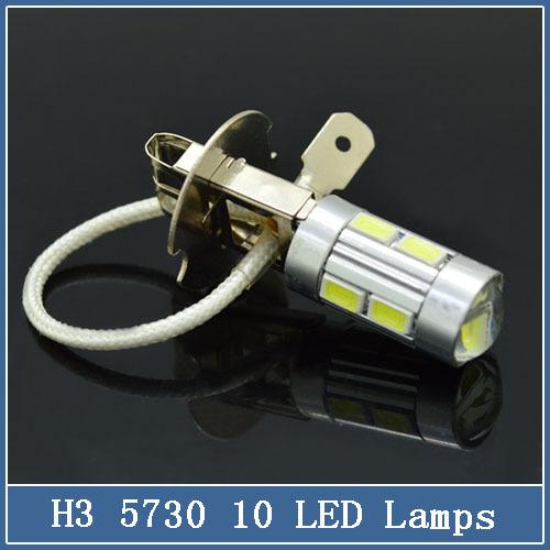 Wholesale Car LED Fog Lights 1PCs H3 10SMD 5730 LED Fog Lights Bulbs High Beam Super White 10led H3 auto light(China (Mainland))