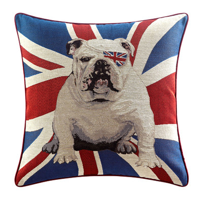 flag cushion london flag pillow english bulldog cover. Black Bedroom Furniture Sets. Home Design Ideas