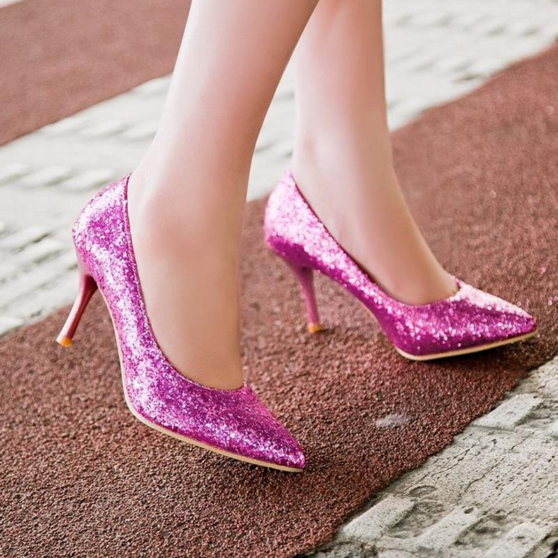 Plus Size 30-45 New Fashion Brand Sexy Elegant Fashion Women High heels shoes Spool Heels Glitter Party Purple Gold Silver Sale(China (Mainland))