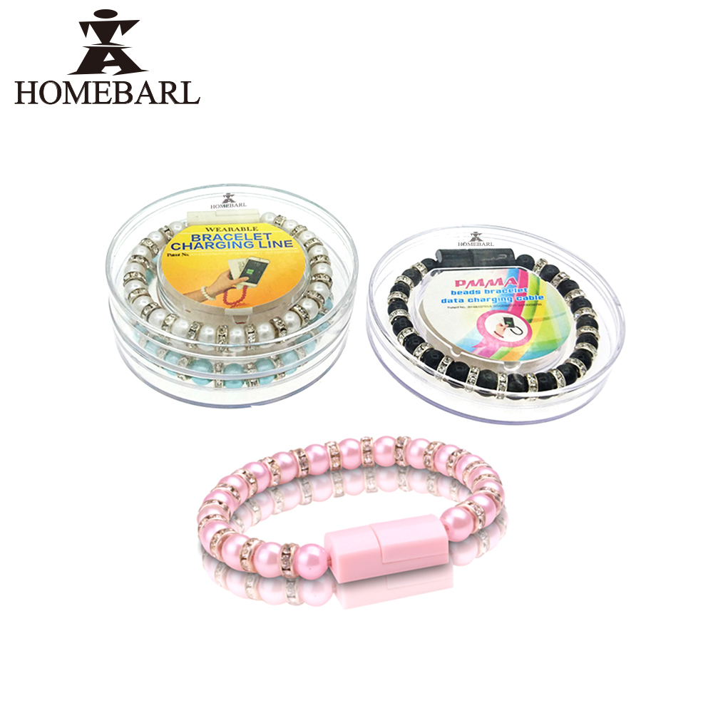 HOMEBARL Diamond Wearable Wristband Wrist Band Bead USB Charger Cable Jewelry For Samsung iphone SE 5 6 7 Plus Android Micro 3B4(China (Mainland))