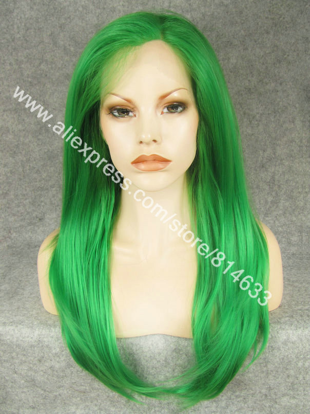 DHL Free 24 Silky Straight Heavy Density High Temperature Fiber Fashion Lady Green Party Wig S02<br><br>Aliexpress