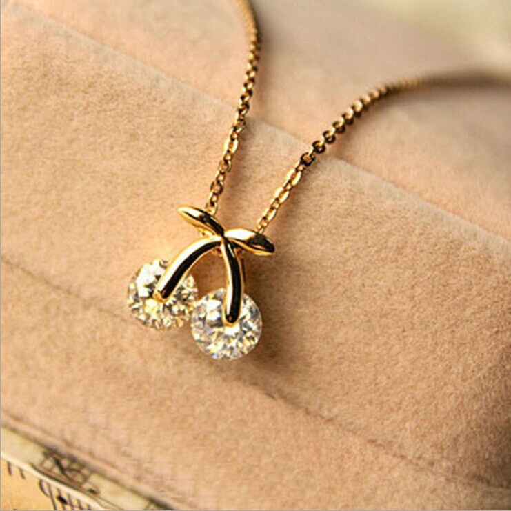 Necklaces Pendants Gold Plated Free Shipping Hot Sale 2015 New Fashion Jewelry Cheap Trendy Plant Cherry
